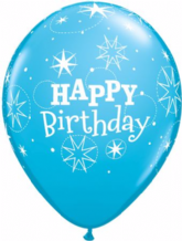 Birthday Sparkle Robin Blue - 11 Inch Balloons 6pcs